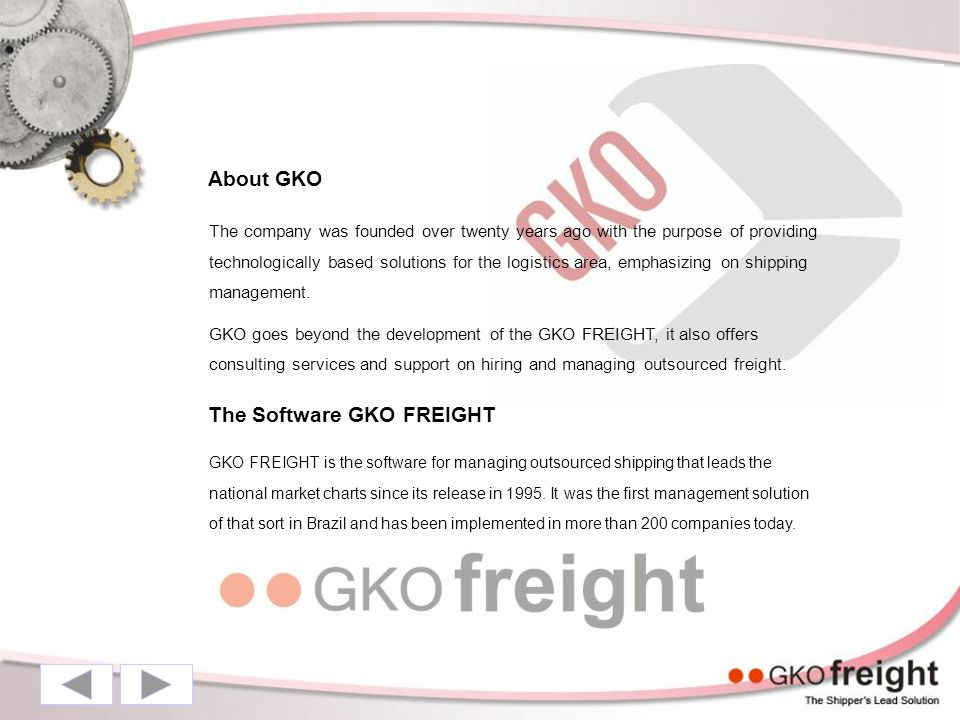 About GKO The company was founded over twenty years ago with the purpose of providing technologically based solutions for the logistics area, emphasizing on shipping management.