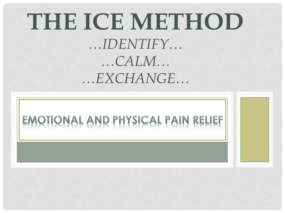 THE ICE METHOD PEPTIDE EXCHANGE Peptide exchange is a natural process once a memory, emotion, or physical state has been raised a calm state has opened up for the person.