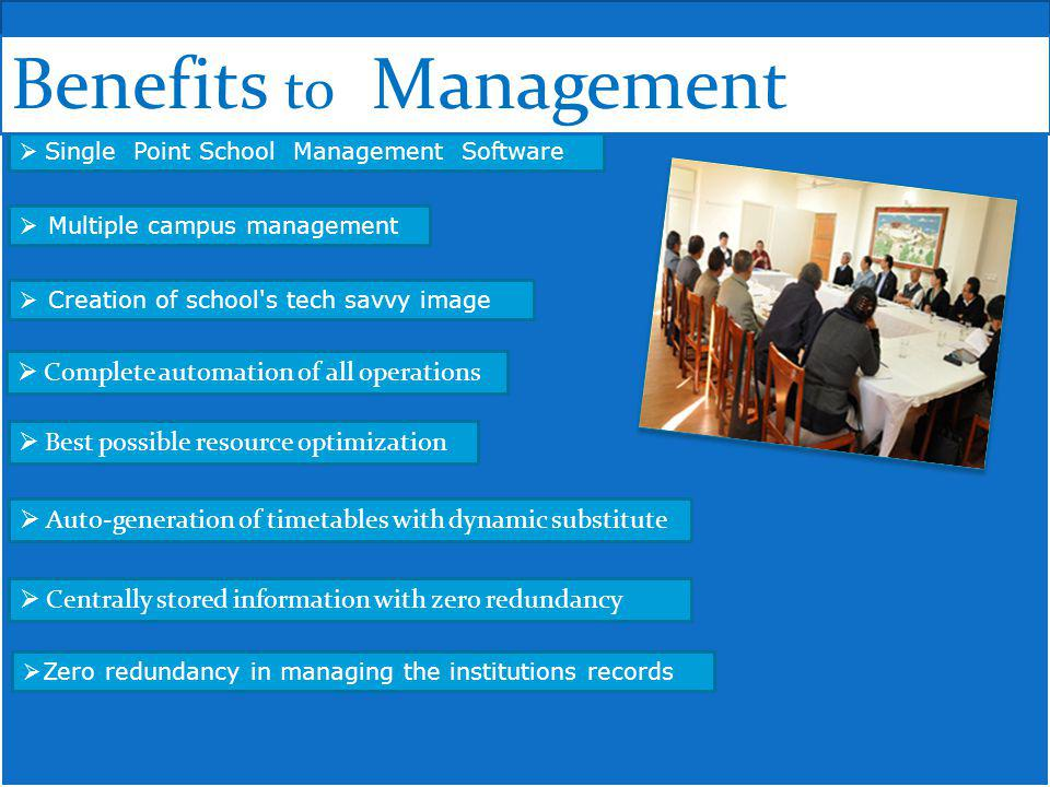 Single Point School Management Software Multiple campus management Zero redundancy in managing the institutions records Creation of school s tech savvy image Complete automation of all operations Centrally stored information with zero redundancy Best possible resource optimization Auto-generation of timetables with dynamic substitute Benefits to Management