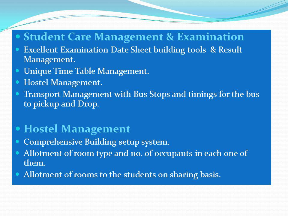 Student Care Management & Examination Excellent Examination Date Sheet building tools & Result Management.
