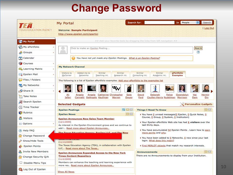 10 Change Password 10