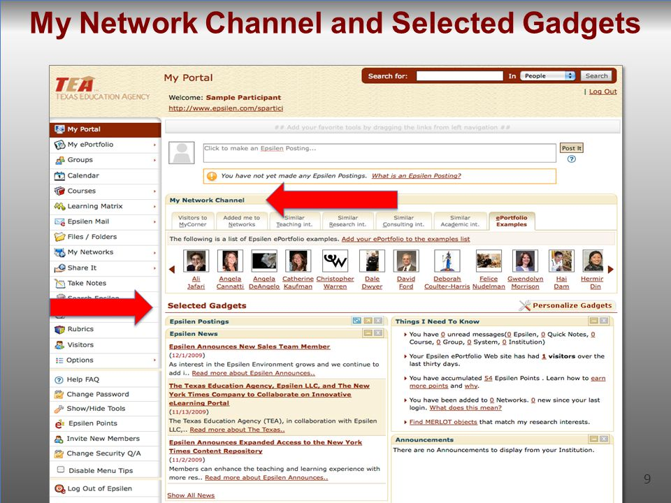 9 My Network Channel and Selected Gadgets 9