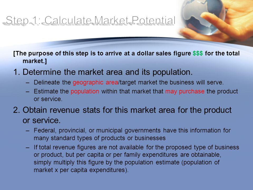 [The purpose of this step is to arrive at a dollar sales figure $$$ for the total market.] 1.Determine the market area and its population.