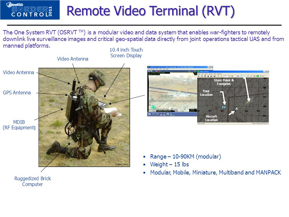 Remote Video Terminal (RVT) Remote Video Terminal (RVT) Stare Point & Footprint Your Location Aircraft Location 10.4 inch Touch Screen Display Video A