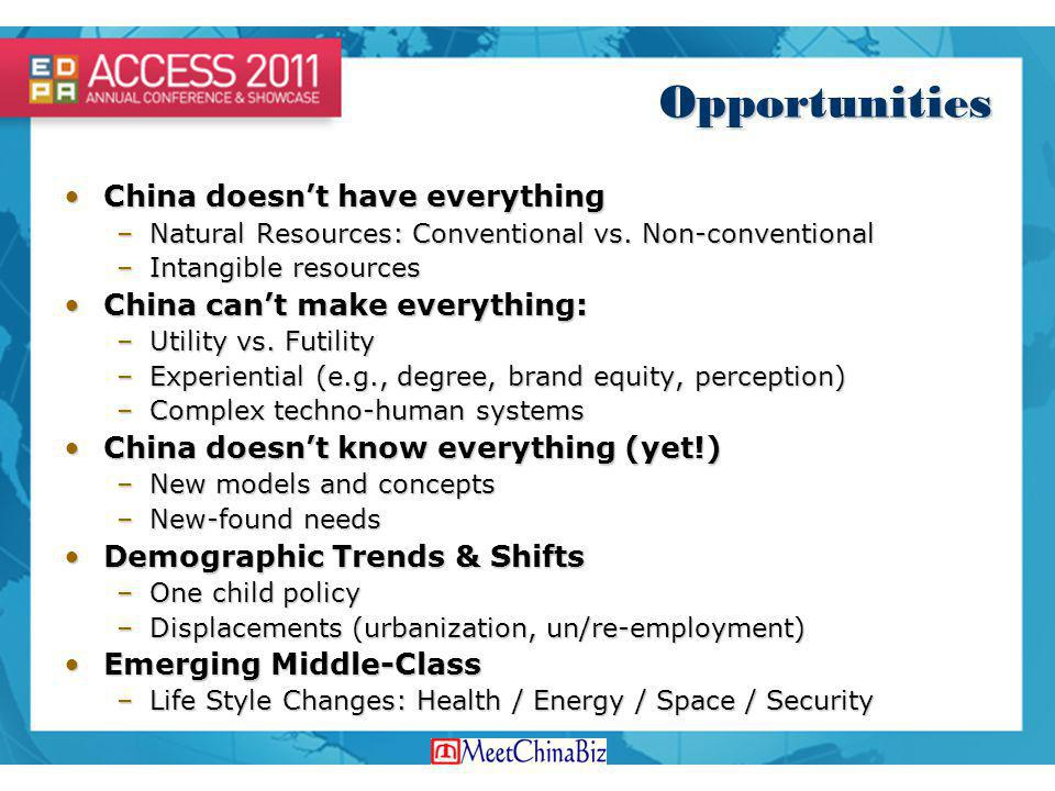 Opportunities China doesnt have everythingChina doesnt have everything –Natural Resources: Conventional vs. Non-conventional –Intangible resources Chi