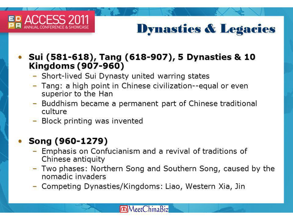 Dynasties & Legacies Sui (581-618), Tang (618-907), 5 Dynasties & 10 Kingdoms (907-960)Sui (581-618), Tang (618-907), 5 Dynasties & 10 Kingdoms (907-9