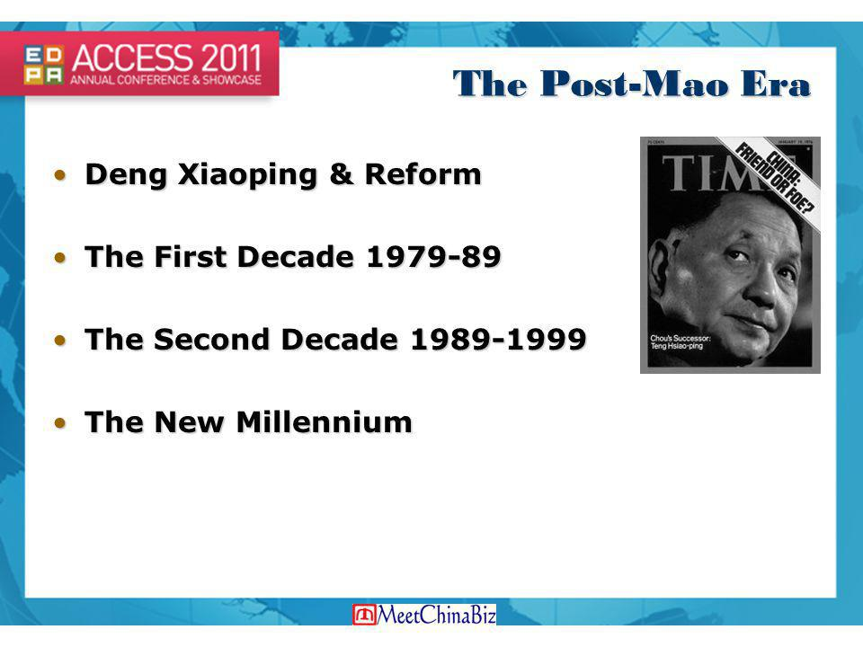 The Post-Mao Era Deng Xiaoping & ReformDeng Xiaoping & Reform The First Decade 1979-89The First Decade 1979-89 The Second Decade 1989-1999The Second D