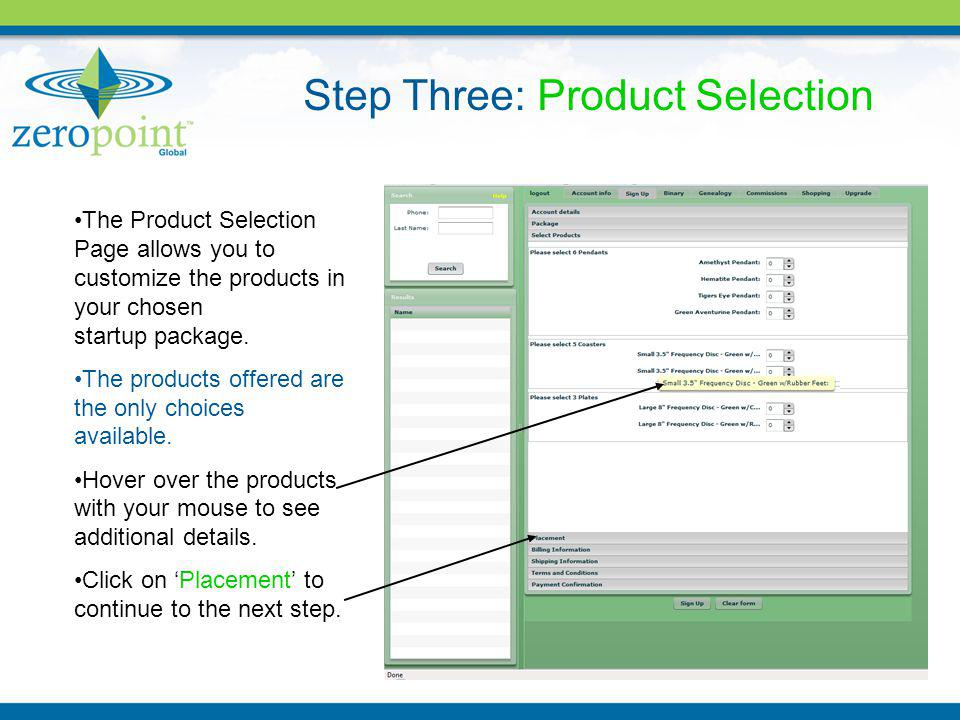 The Product Selection Page allows you to customize the products in your chosen startup package.