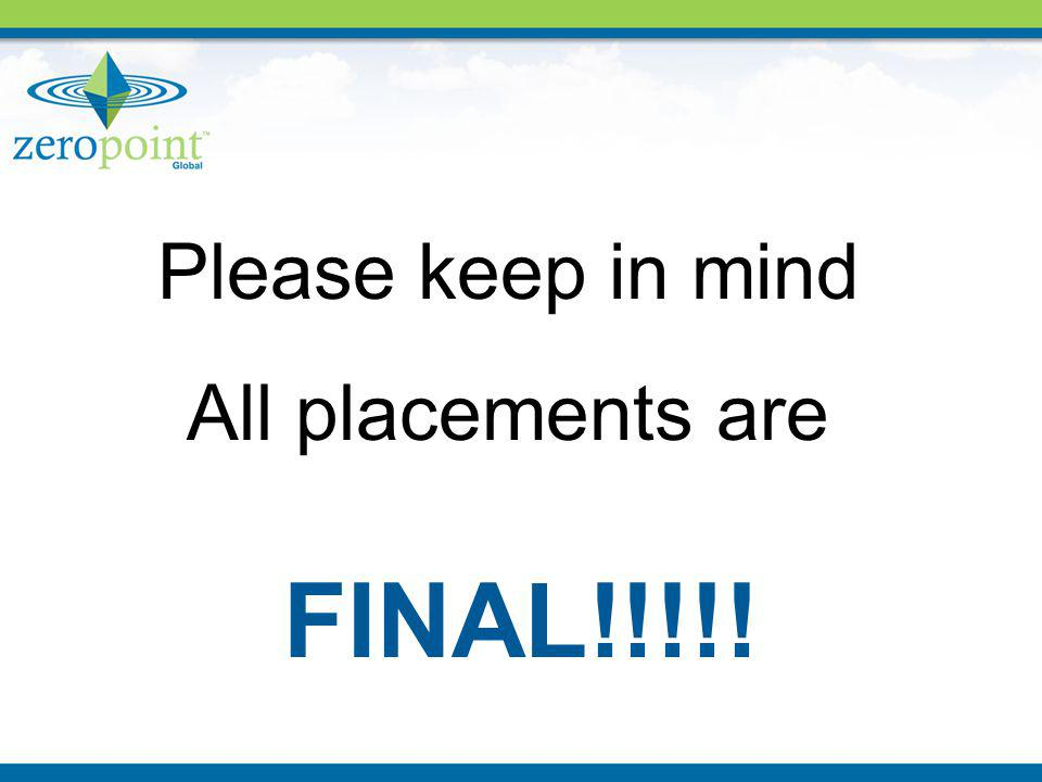 Please keep in mind All placements are FINAL!!!!!