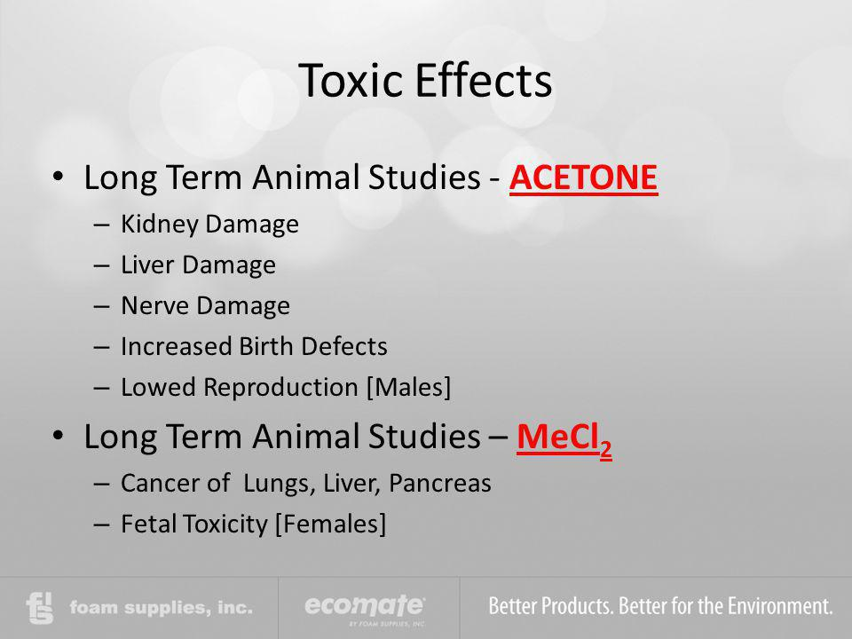 Toxic Effects Long Term Animal Studies - ACETONE – Kidney Damage – Liver Damage – Nerve Damage – Increased Birth Defects – Lowed Reproduction [Males]