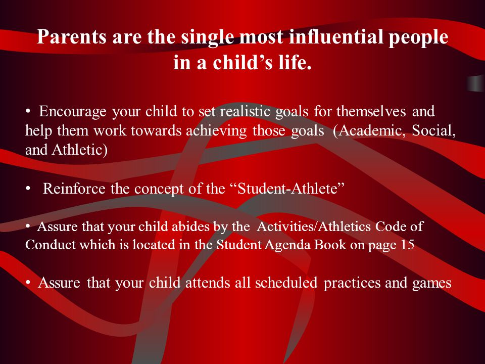 Take an active, supportive role - work cooperatively with other parents and school personnel to assure a wholesome and successful athletic program for our school Support child and team by attending games Be a positive role model to our children Promote sportsmanship Acknowledge the ultimate authority of the coach to determine strategy and player selection Keep criticisms and negative opinions to self