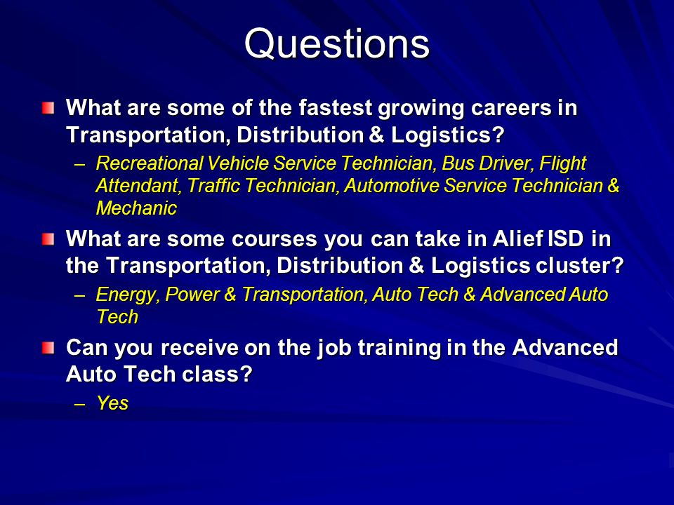 Questions What are some of the fastest growing careers in Transportation, Distribution & Logistics.