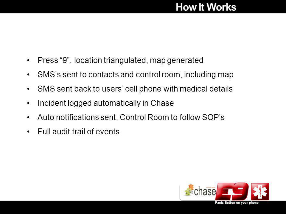 Press 9, location triangulated, map generated SMSs sent to contacts and control room, including map SMS sent back to users cell phone with medical details Incident logged automatically in Chase Auto notifications sent, Control Room to follow SOPs Full audit trail of events