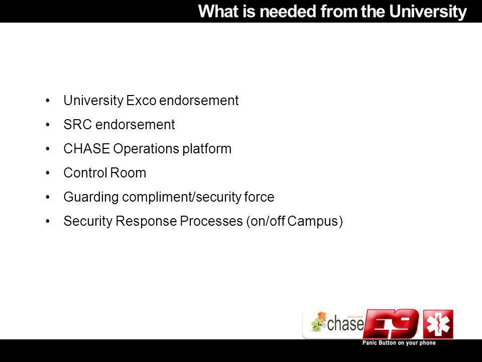 University Exco endorsement SRC endorsement CHASE Operations platform Control Room Guarding compliment/security force Security Response Processes (on/off Campus)