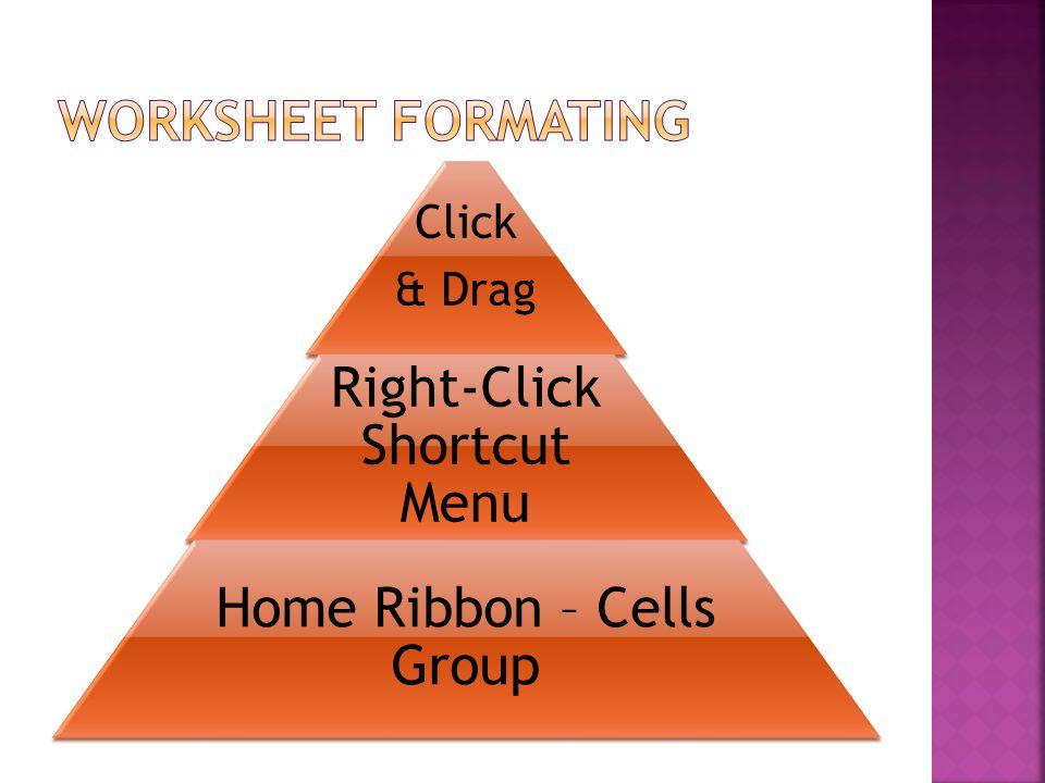Click & Drag Right-Click Shortcut Menu Home Ribbon – Cells Group