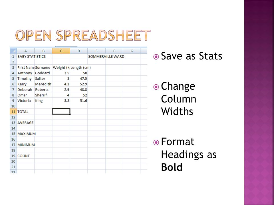 Save as Stats Change Column Widths Format Headings as Bold