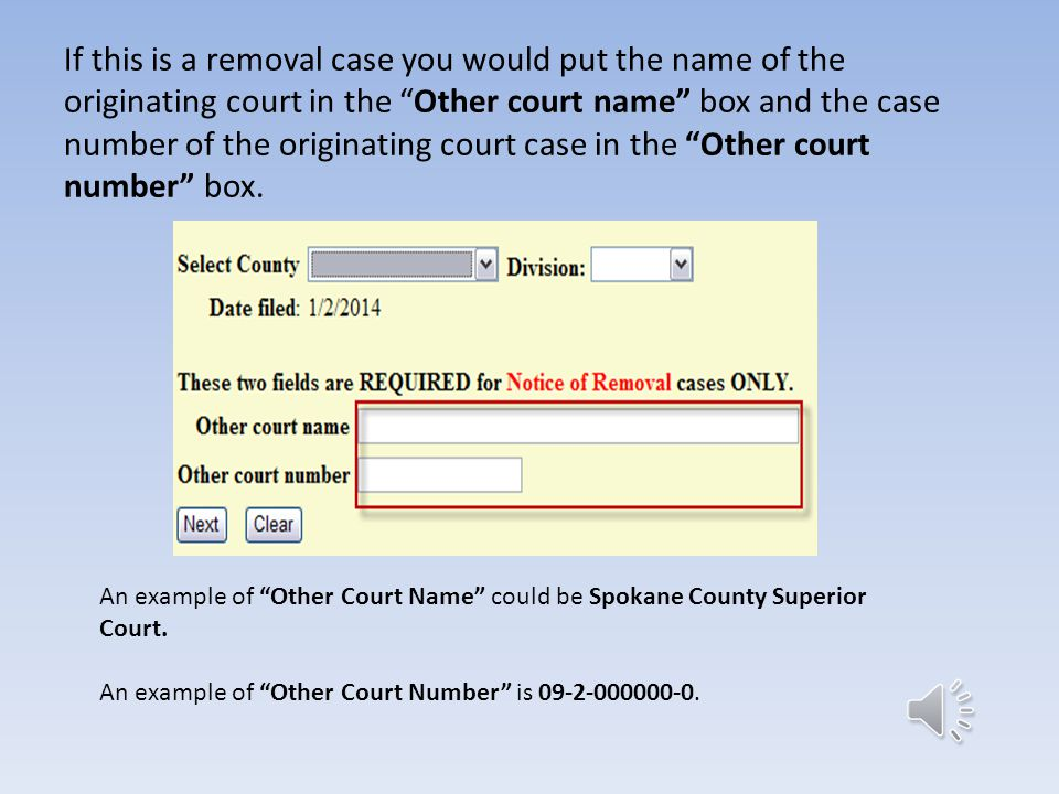 If this is a removal case you would put the name of the originating court in the Other court name box and the case number of the originating court case in the Other court number box.