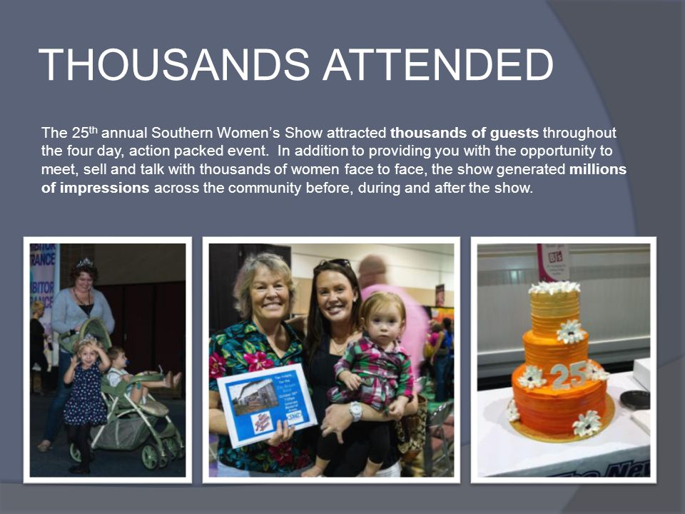 THOUSANDS ATTENDED The 25 th annual Southern Womens Show attracted thousands of guests throughout the four day, action packed event. In addition to pr