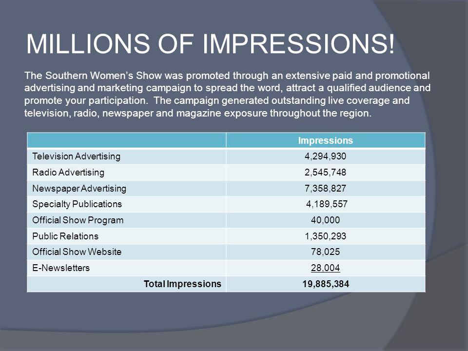 MILLIONS OF IMPRESSIONS.