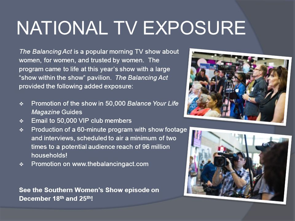 NATIONAL TV EXPOSURE The Balancing Act is a popular morning TV show about women, for women, and trusted by women. The program came to life at this yea
