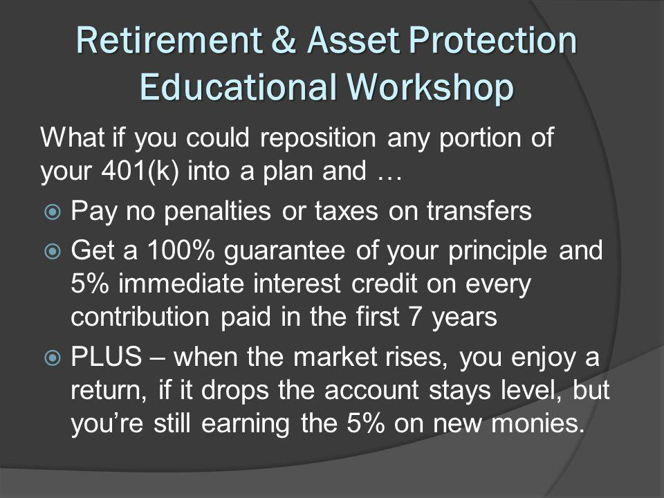 Retirement & Asset Protection Educational Workshop What if you could reposition any portion of your 401(k) into a plan and … Pay no penalties or taxes on transfers Get a 100% guarantee of your principle and 5% immediate interest credit on every contribution paid in the first 7 years PLUS – when the market rises, you enjoy a return, if it drops the account stays level, but youre still earning the 5% on new monies.