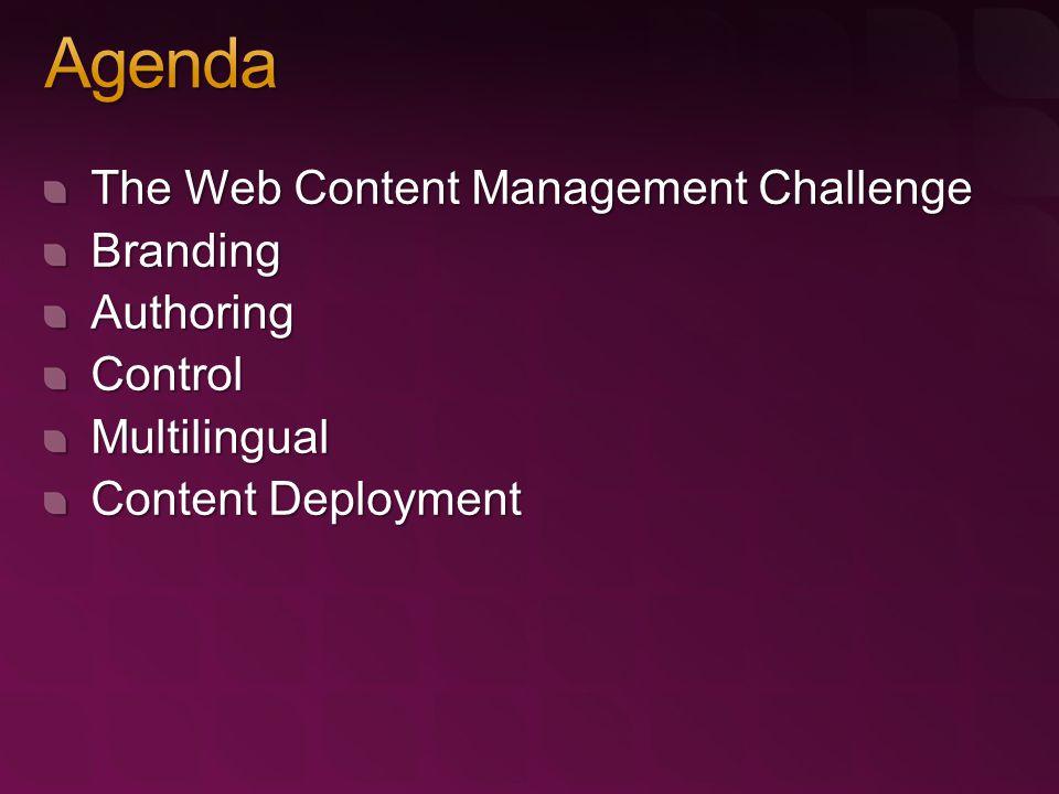 The Web Content Management Challenge BrandingAuthoringControlMultilingual Content Deployment