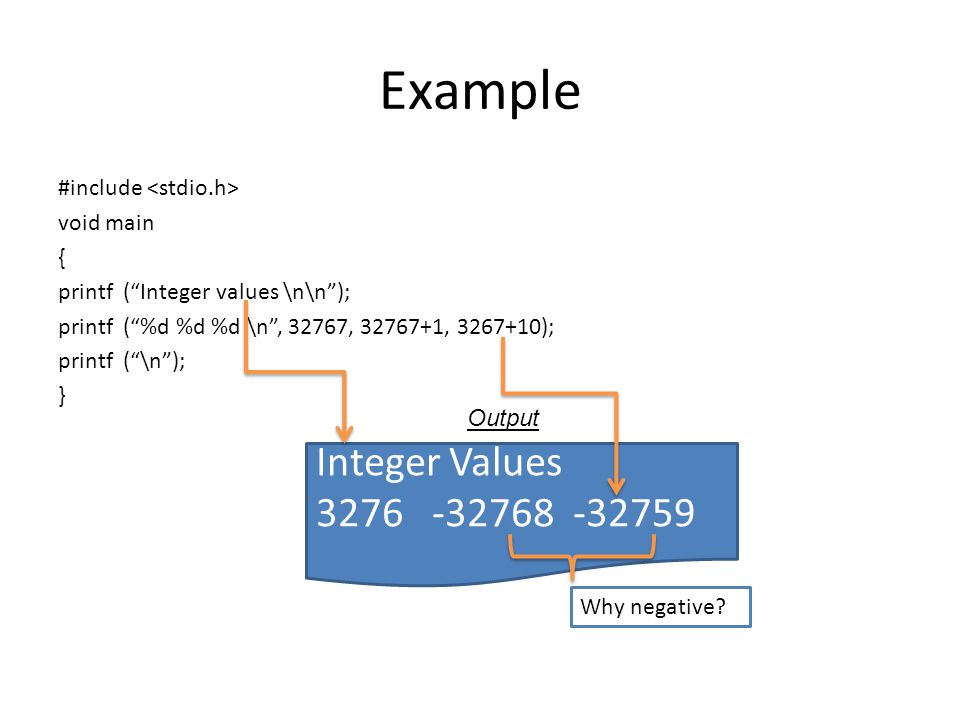 Example #include void main { printf (Integer values \n\n); printf (%d %d %d \n, 32767, 32767+1, 3267+10); printf (\n); } Integer Values 3276 -32768 -32759 Output Why negative?