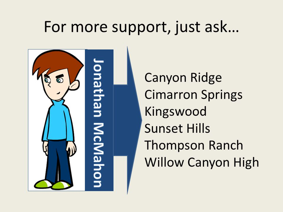 For more support, just ask… Canyon Ridge Cimarron Springs Kingswood Sunset Hills Thompson Ranch Willow Canyon High