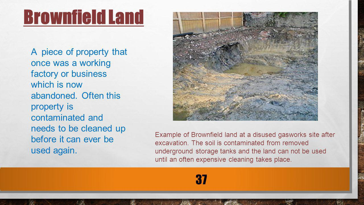 Example of Brownfield land at a disused gasworks site after excavation. The soil is contaminated from removed underground storage tanks and the land c