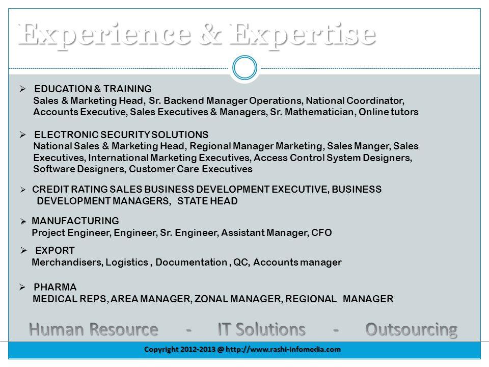 Copyright 2012-2013 @ http://www.rashi-infomedia.com Experience & Expertise EDUCATION & TRAINING Sales & Marketing Head, Sr.