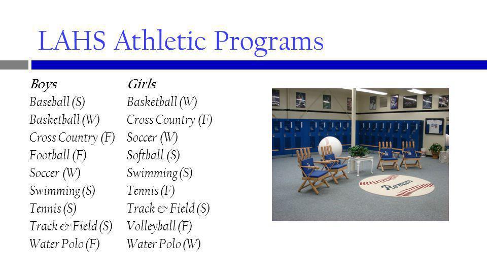 LAHS Athletic Programs BoysGirls Baseball (S) Basketball (W) Basketball (W) Cross Country (F) Cross Country (F)Soccer (W) Football (F)Softball (S) Soccer (W) Swimming (S) Swimming (S) Tennis (F) Tennis (S) Track & Field (S) Track & Field (S) Volleyball (F) Water Polo (F) Water Polo (W)