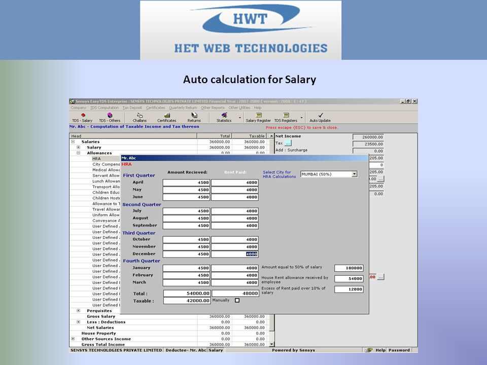 Auto calculation for Salary