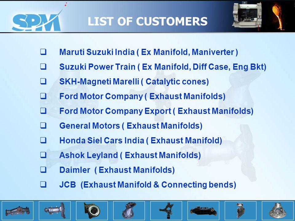 LIST OF CUSTOMERS Maruti Suzuki India ( Ex Manifold, Maniverter ) Suzuki Power Train ( Ex Manifold, Diff Case, Eng Bkt) SKH-Magneti Marelli ( Catalytic cones) Ford Motor Company ( Exhaust Manifolds) Ford Motor Company Export ( Exhaust Manifolds) General Motors ( Exhaust Manifolds) Honda Siel Cars India ( Exhaust Manifold) Ashok Leyland ( Exhaust Manifolds) Daimler ( Exhaust Manifolds) JCB (Exhaust Manifold & Connecting bends)