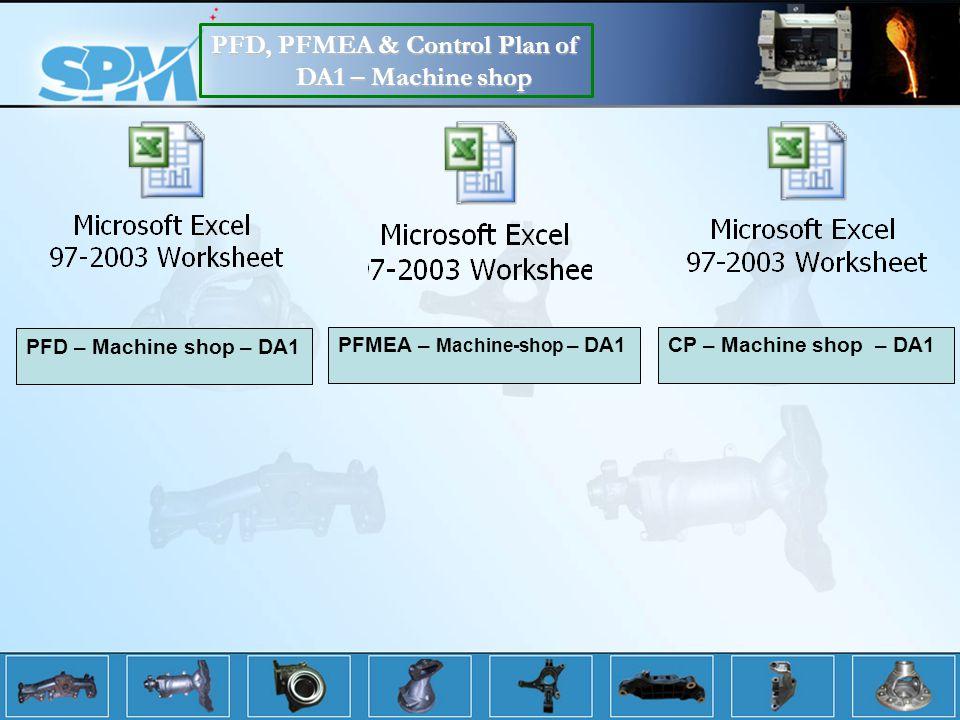 PFD, PFMEA & Control Plan of DA1 – Machine shop PFD – Machine shop – DA1 PFMEA – Machine-shop – DA1CP – Machine shop – DA1