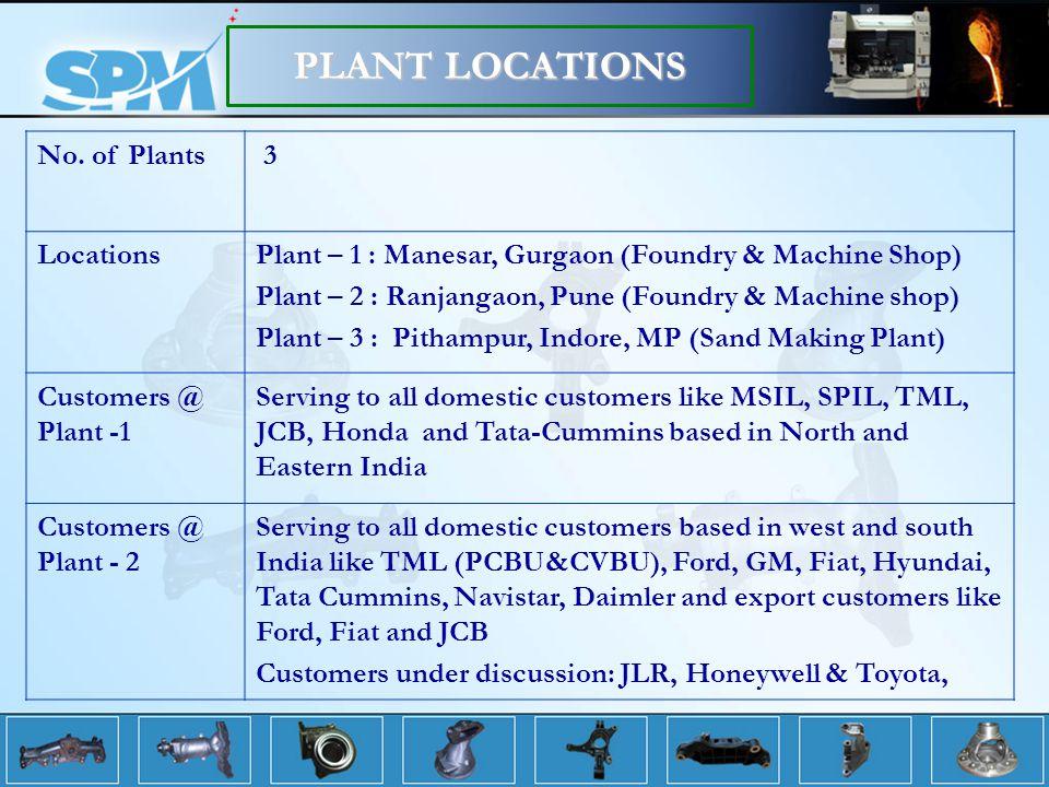 No. of Plants 3 LocationsPlant – 1 : Manesar, Gurgaon (Foundry & Machine Shop) Plant – 2 : Ranjangaon, Pune (Foundry & Machine shop) Plant – 3 : Pitha