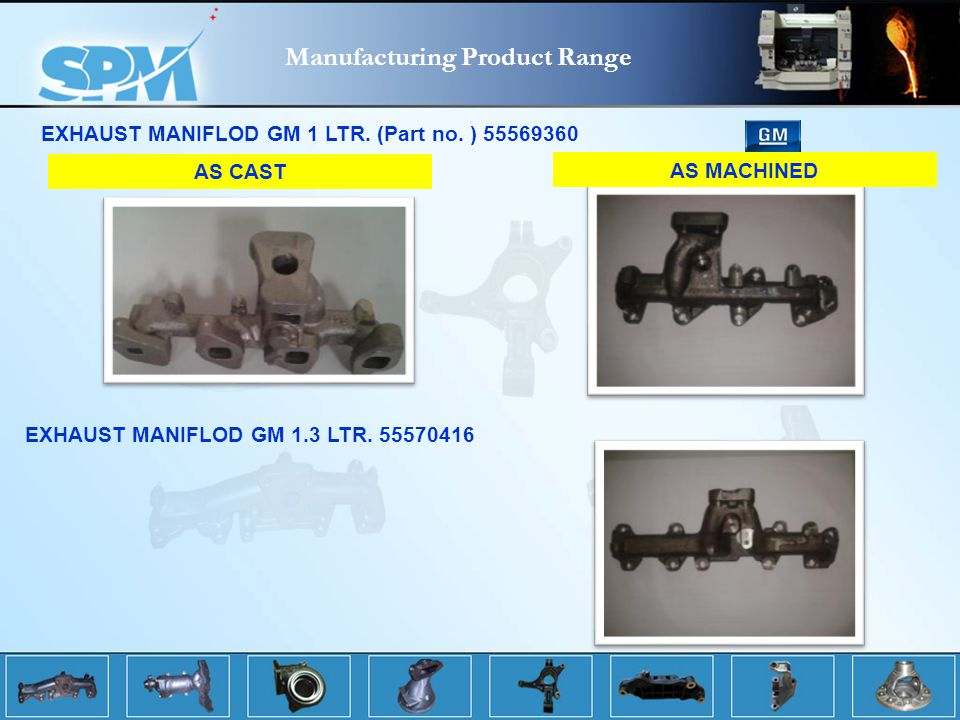 Manufacturing Product Range EXHAUST MANIFLOD GM 1 LTR.