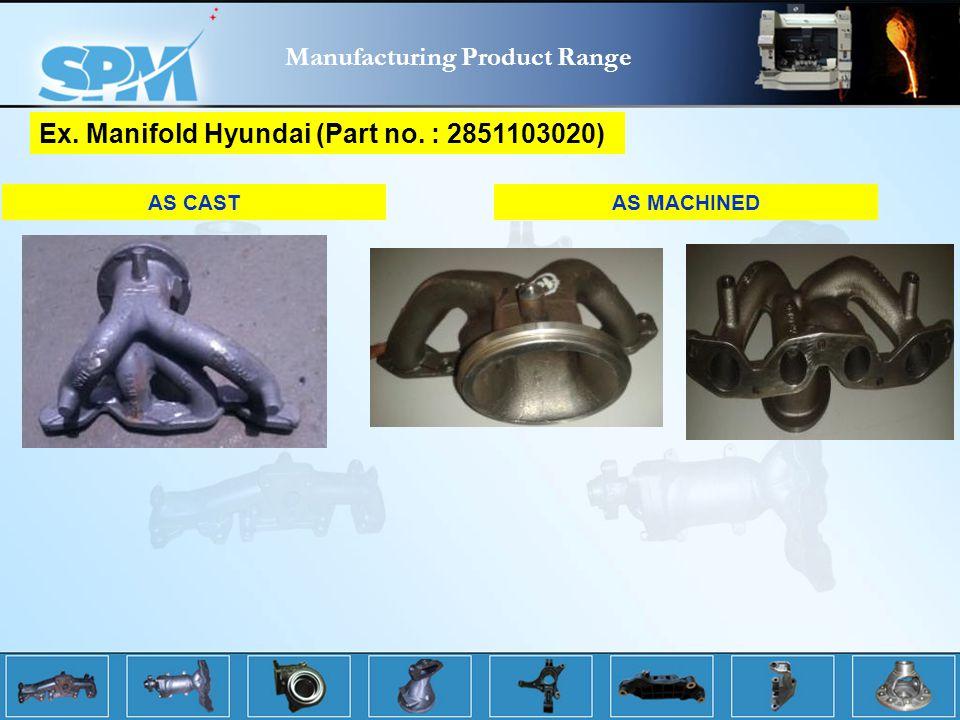 AS CASTAS MACHINED Ex. Manifold Hyundai (Part no. : 2851103020) Manufacturing Product Range