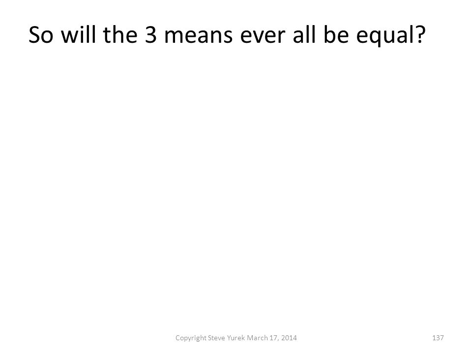 So will the 3 means ever all be equal. They will if the original numbers are equal.