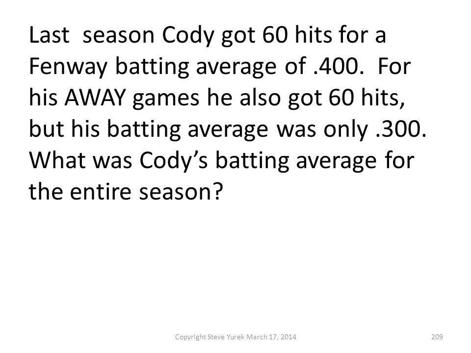 Last season Cody got 60 hits for a Fenway batting average of.400.