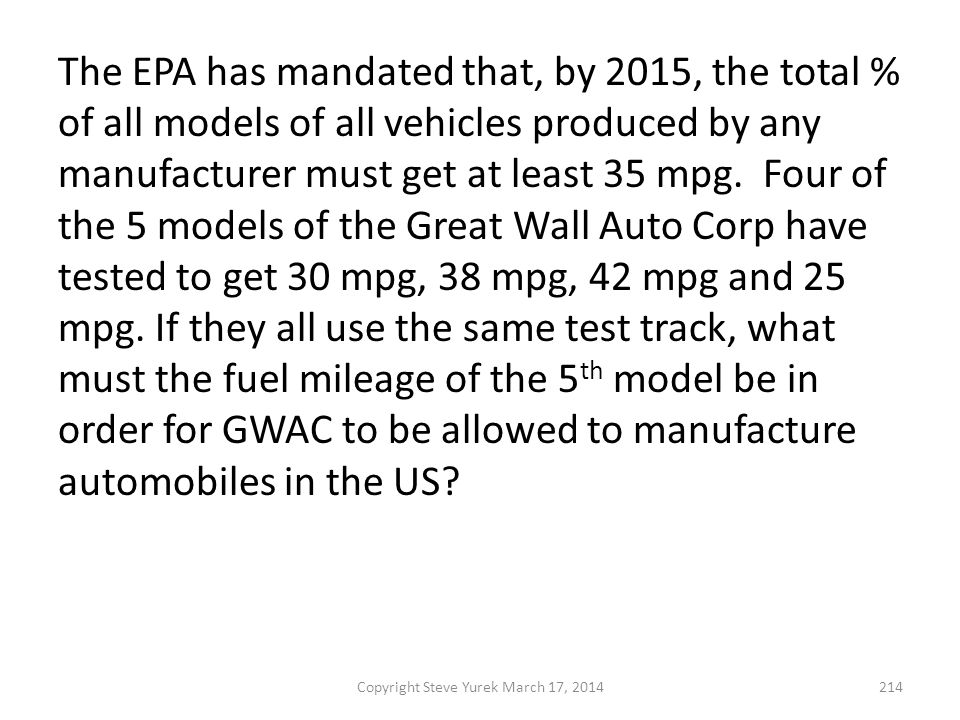 The EPA has mandated that, by 2015, the total % of all models of all vehicles produced by any manufacturer must get at least 35 mpg.