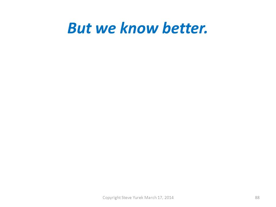 But we know better. Copyright Steve Yurek March 17, 201488