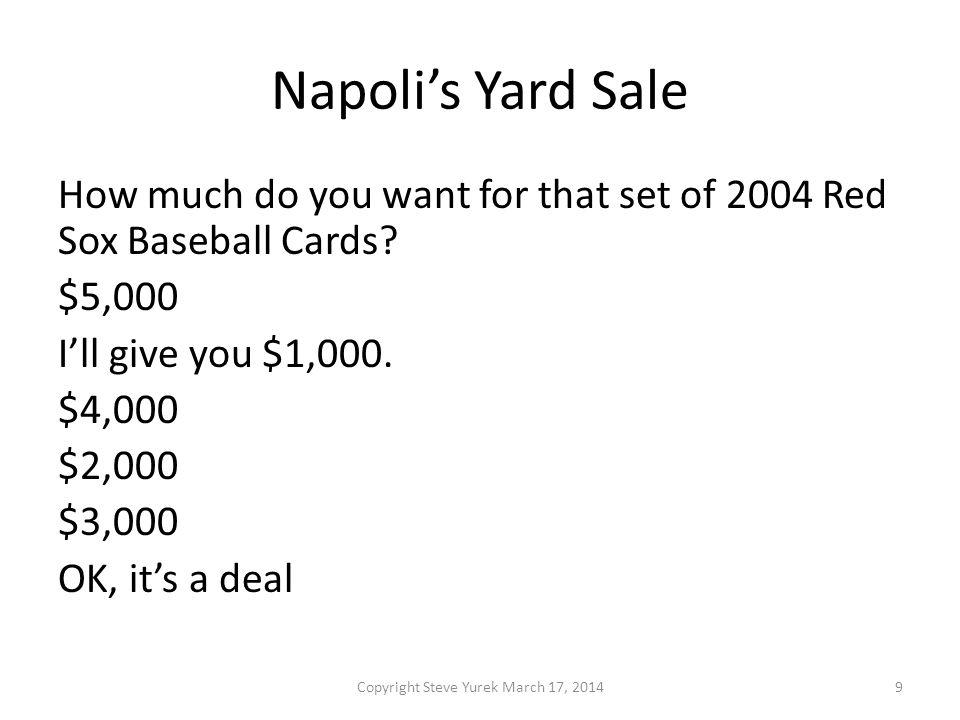 Napolis Yard Sale Which mean is at work here.