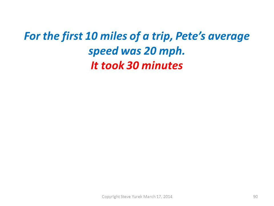 For the first 10 miles of a trip, Petes average speed was 20 mph.