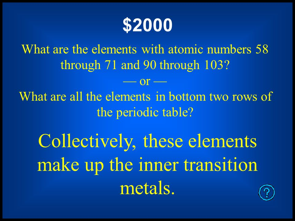 $1600 What are oxygen, sulfur, selenium, tellurium, and polonium? or What are all the elements in column six? Collectively, these elements make up the