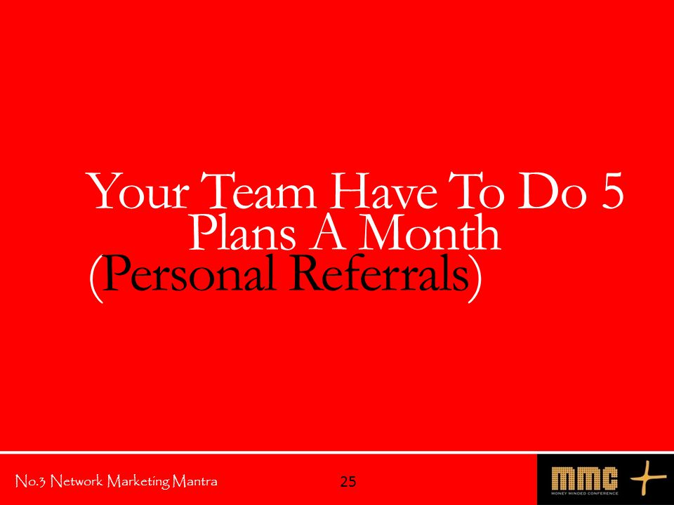 No.3 Network Marketing Mantra Your Team Have To Do 5 Plans A Month (Personal Referrals) 25