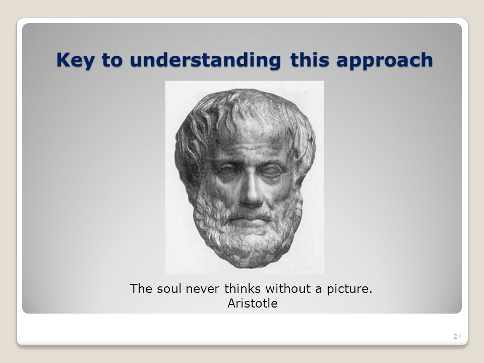 Key to understanding this approach The soul never thinks without a picture. Aristotle 24