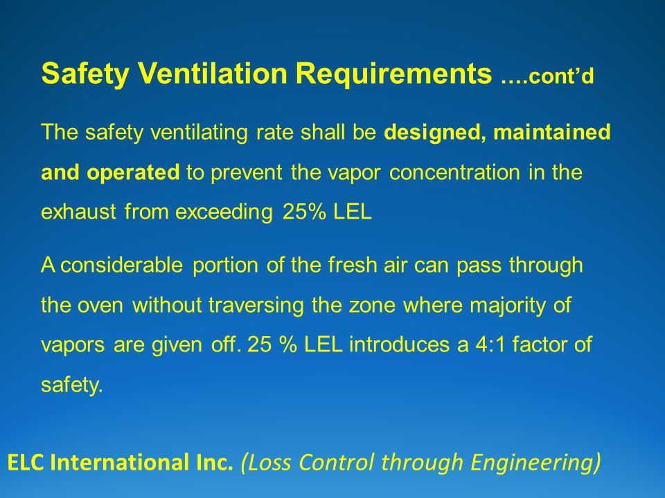 ELC International Inc. (Loss Control through Engineering) Safety Ventilation Requirements ….contd The safety ventilating rate shall be designed, maint