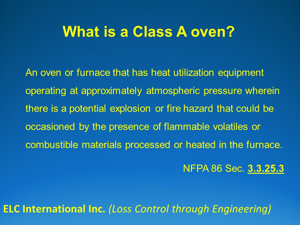 What is a Class A oven. ELC International Inc.