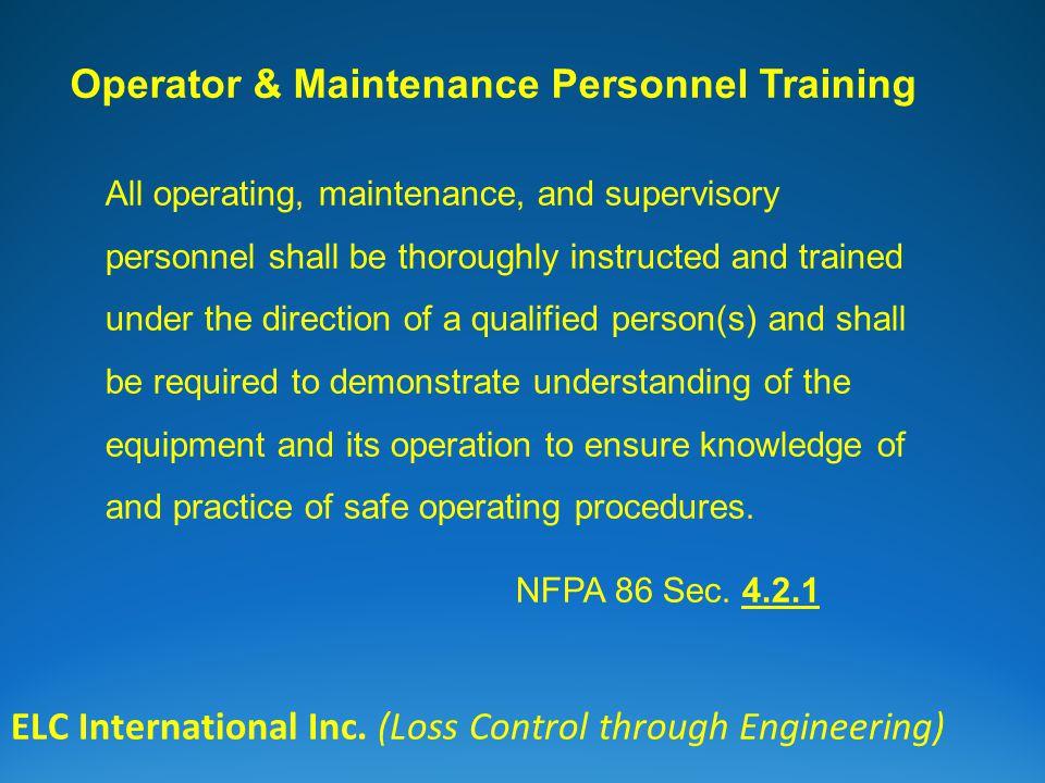 Operator & Maintenance Personnel Training ELC International Inc.