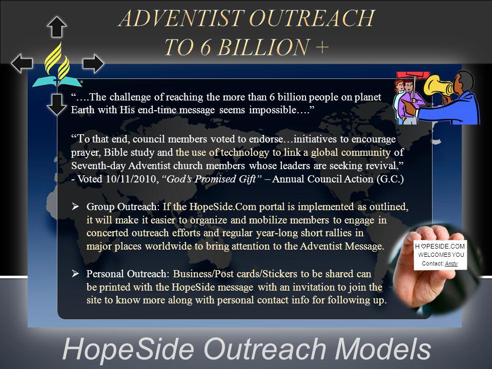 Hope Steps - Scenario (Typical encounter by media or other ways.) (Potential members can join the all-in-one Interactive, social, educational, empowering, and local church/group matching website.) (Educated members can then join or form a local church for hope living to do outreach again.)